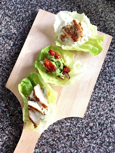 Zdrave tortilje od zelene salate i začinske piletine
